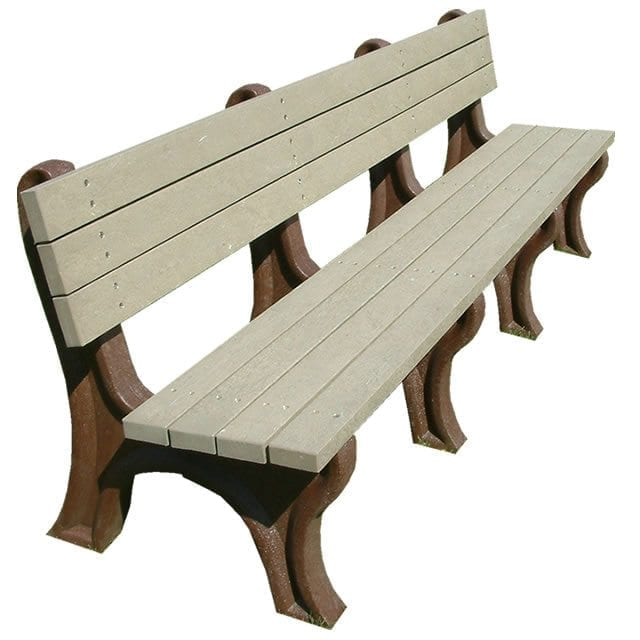 Deluxe 8' Park Bench Made From Recycled Plastic Materials