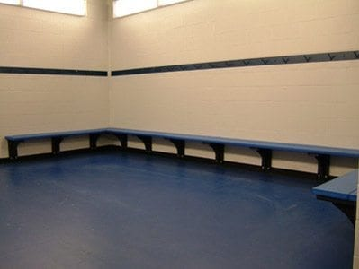 Benches And Hooks On Wall In Locker Room