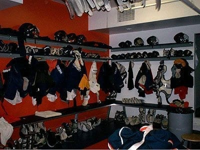 Benches And Shelving In Locker Room
