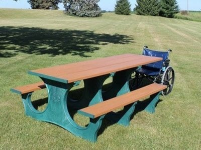 8 foot picnic table with wheelchair accessible extension