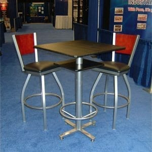 Square Bar-Style Custom Pedestal Table With Stools