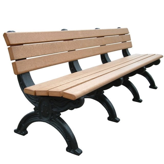 8 Foot Silhouette Park Bench Made With Recycled Plastic Materials