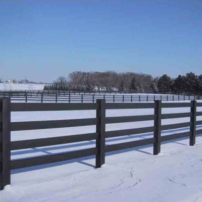 4-Rail Black Fence