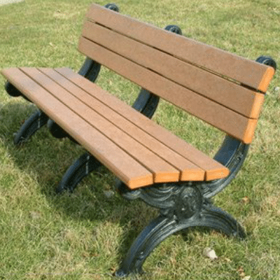 6 Foot Park Bench Made From Recycled Plastic Materials