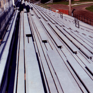 Recycled Plastic Seating On Standard Steel Bleacher Structure