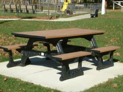 ADA accessible commons easy access picnic table made from recycled plastic materials