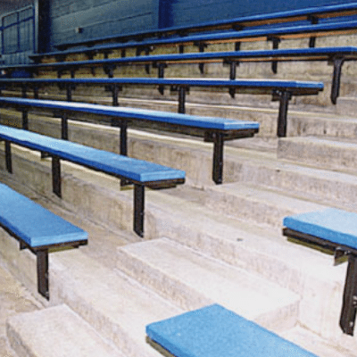 Concrete Bleachers With Plastic Recycled Seating On Steel Support Brackets