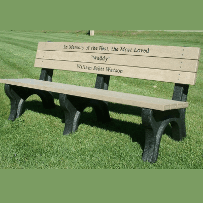 Engraved Deluxe Park Bench – Weathered Wood With Black Frame