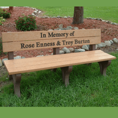 Engraved Standard Park Bench – Cedar With Brown Frame