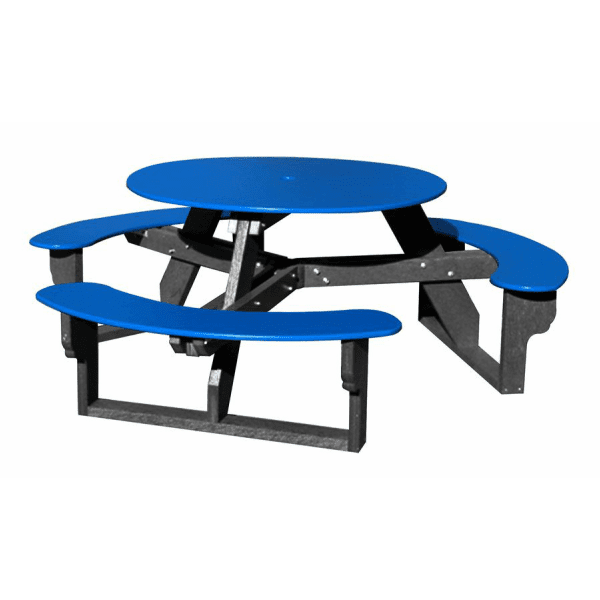Open Seat Round Picnic Table Made From Recycled Plastic Material