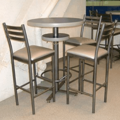 Round Bar-Style Custom Pedestal Table With Stools